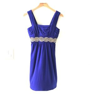 Royal Blue cocktail dress with gold sequins.